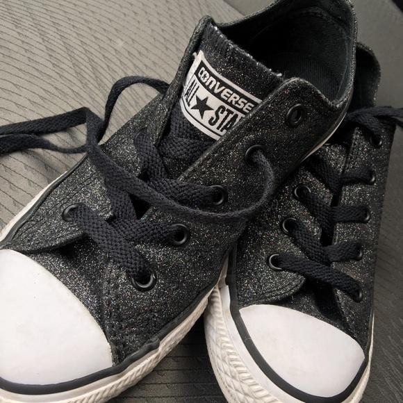 a947a3d7d3fa Converse Other - Girls Converse All Star Black Glitter Shoes sz 2